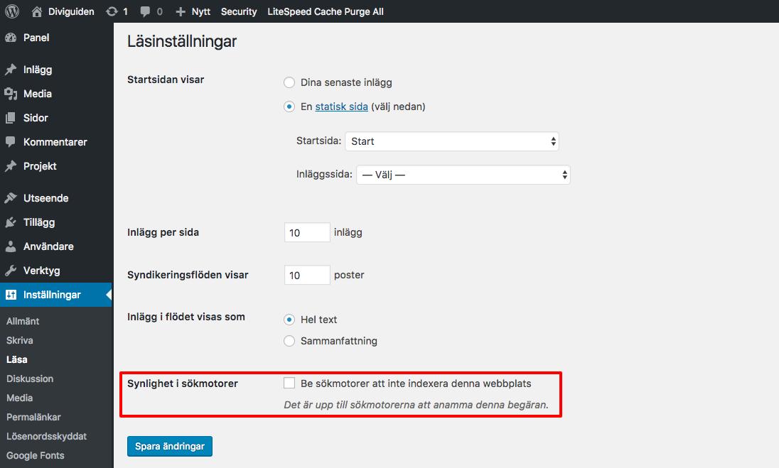 Tillåt sökmotorer i WordPress