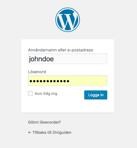 e kontakt logga in wordpress